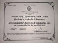Moonjumpers receive their renewed 2019 Suffolk County Certificate of Registration